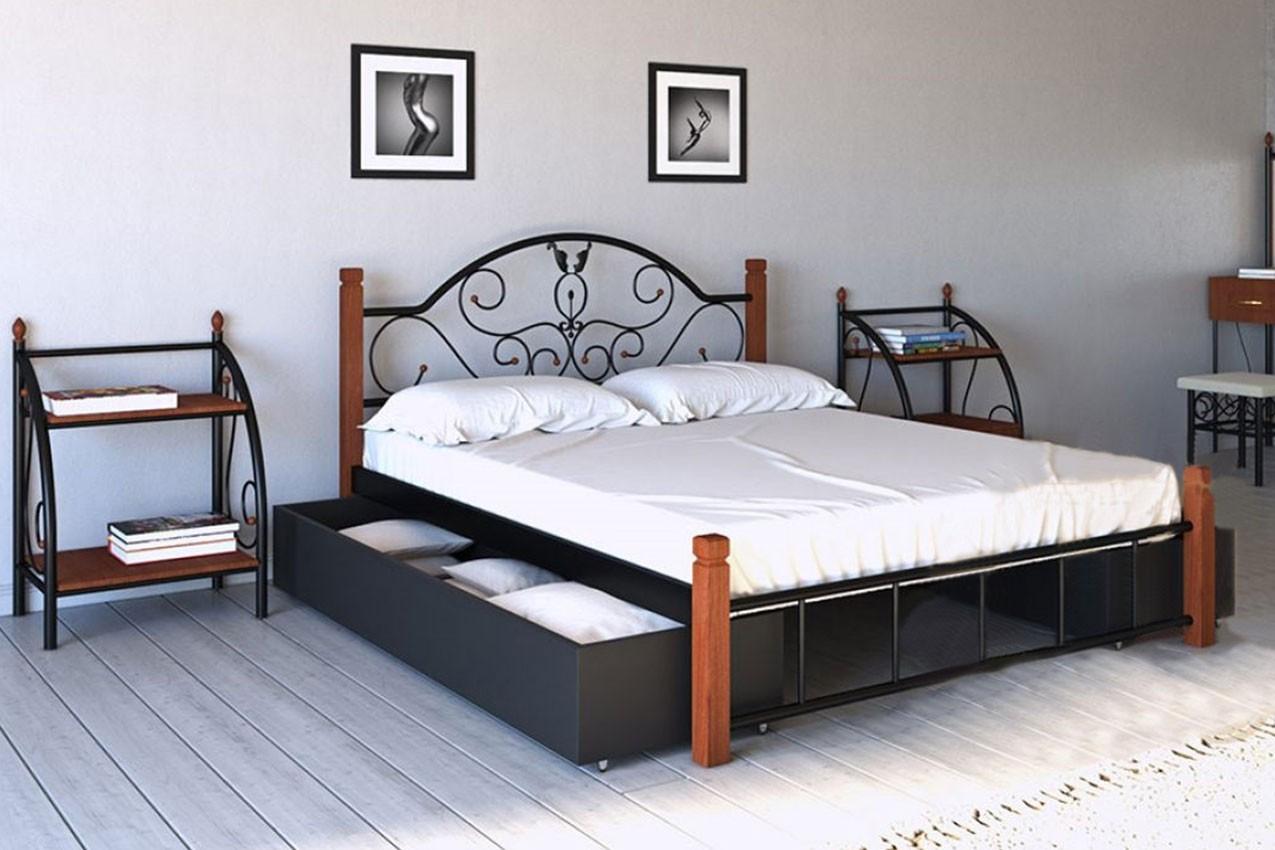 Фото Металлическая кровать Анжелика с деревянными ножками от ТМ Металл-Дизайн