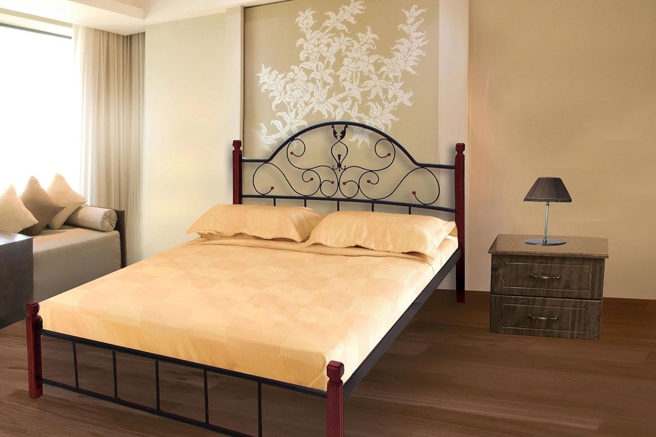 Металлическая кровать Анжелика с деревянными ножками от ТМ Металл-Дизайн недорого