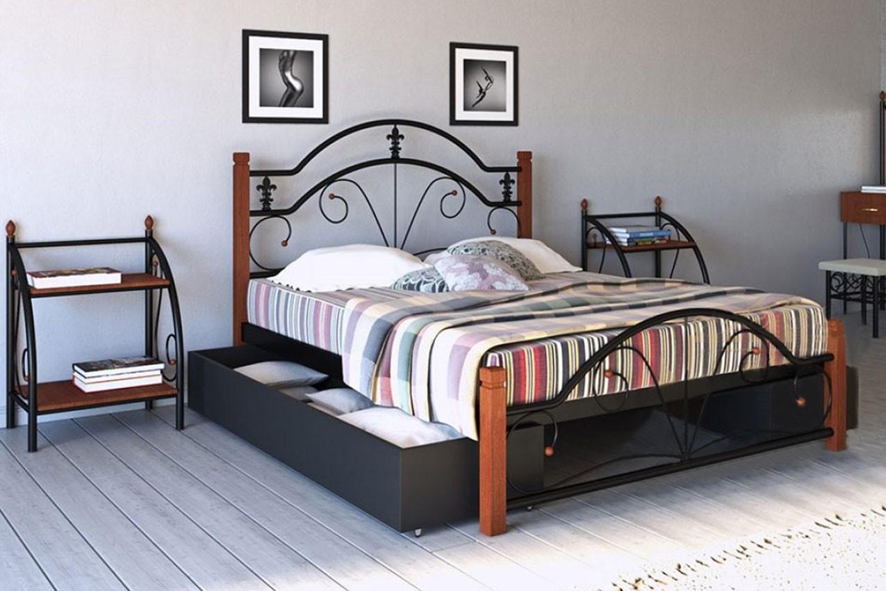 Фото Металлическая кровать Диана с деревянными ножками от ТМ Металл-Дизайн