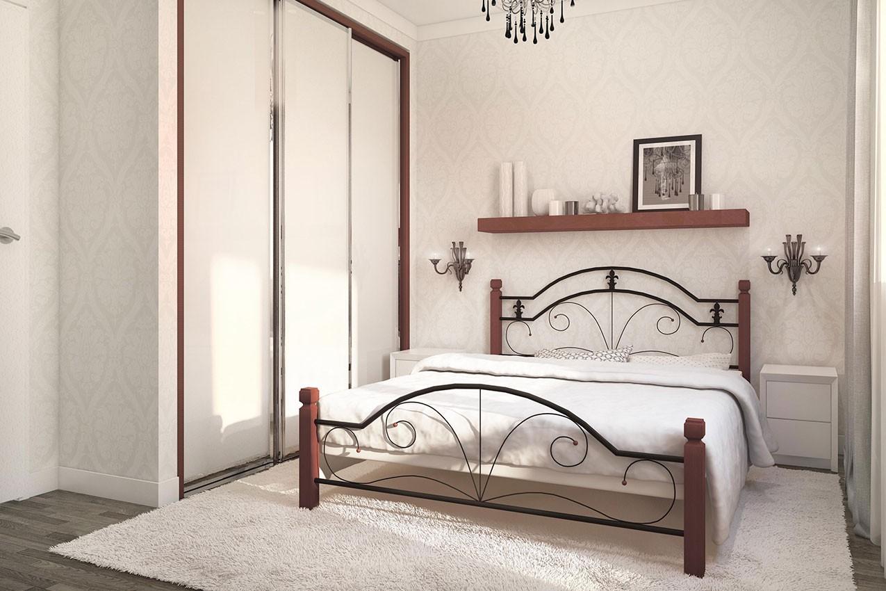 Металлическая кровать Диана с деревянными ножками от ТМ Металл-Дизайн недорого
