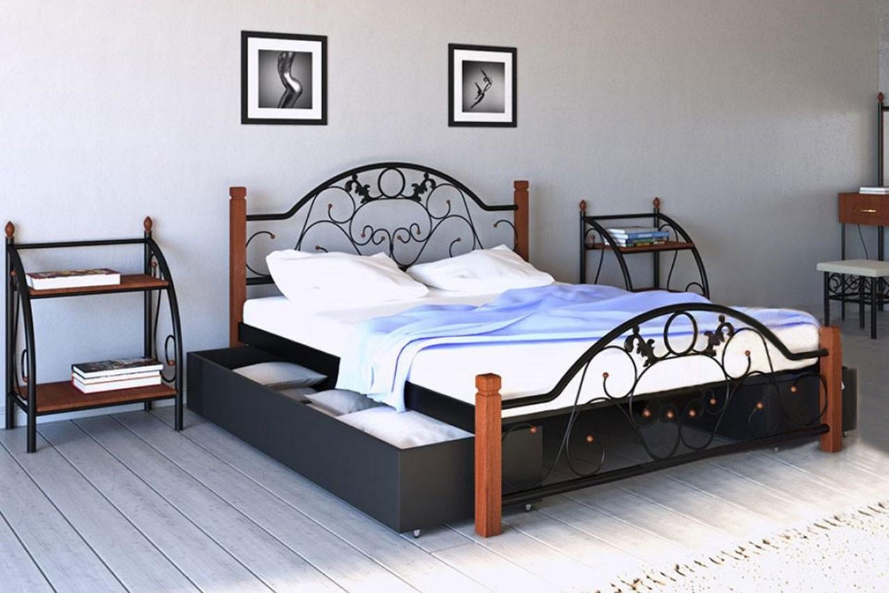 Фото Металлическая кровать Франческа с деревянными ножками от ТМ Металл-Дизайн