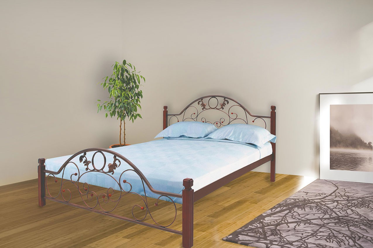 Металлическая кровать Франческа с деревянными ножками от ТМ Металл-Дизайн недорого