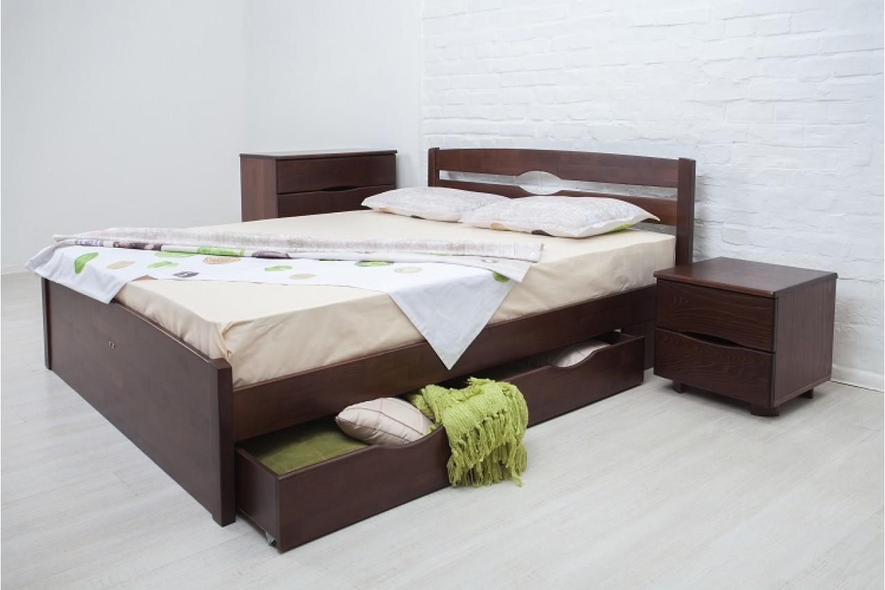 Дерев'яне ліжко Ліка Люкс з ящиками від ТМ Олімп недорого