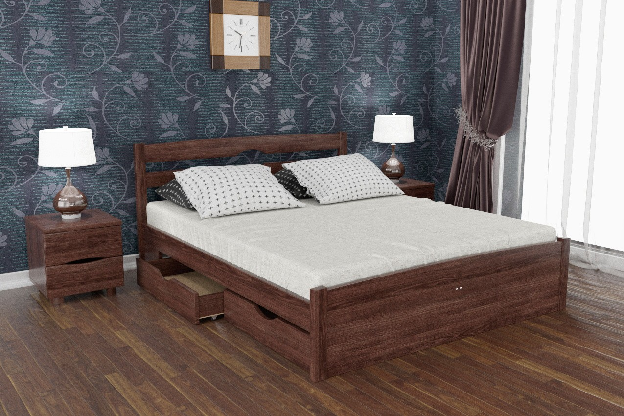 Фото Дерев'яне ліжко Ліка Люкс з ящиками від ТМ Олімп